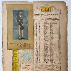 Carteles Toros: CORRIDAS TOREADAS JOSÉ GOMEZ , GALLITO , CARTEL 1918 , R. VELASCO , MADRID , TORERO. Lote 278350018