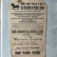 Carteles Toros: CARTEL TOROS SAN BARTOLOMÉ DE PINARES. ÁVILA. 1945. Lote 285762578