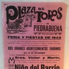 Cartazes Touros: CARTEL TOROS PIEDRABUENA 1943. Lote 285763523