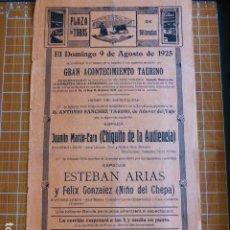 Cartazes Touros: PLAZA DE TOROS DE VILLACAÑAS TOLEDO CARTEL CORRIDAS 1925 21 X 43 CMTS. Lote 287664558