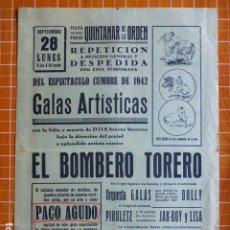 Cartazes Touros: PLAZA DE TOROS DE QUINTANAR DE LA ORDEN TOLEDO CARTEL CORRIDAS 1942 23 X 32 CMTS. Lote 287669668