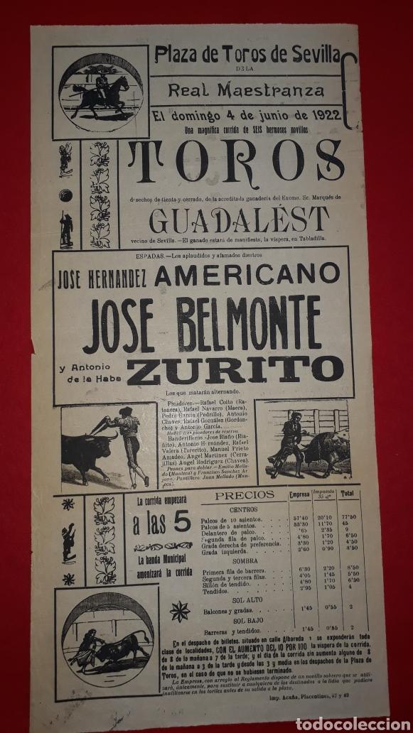 PLAZA DE TOROS DE SEVILLA 4 DE JUNIO DE 1922 (Coleccionismo - Carteles Gran Formato - Carteles Toros)