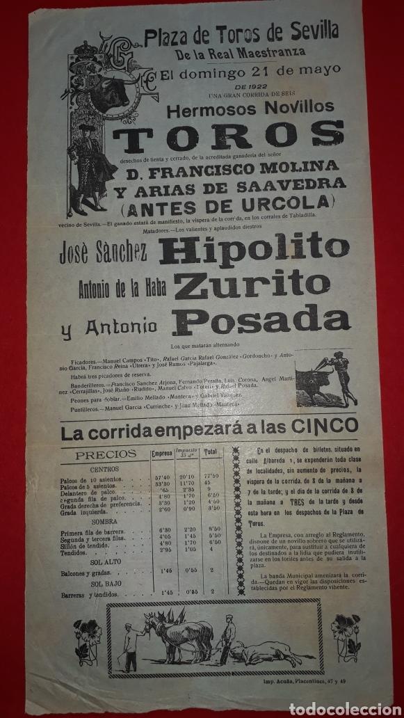 PLAZA DE TOROS DE SEVILLA 21 DE MAYO DE 1922 (Coleccionismo - Carteles Gran Formato - Carteles Toros)