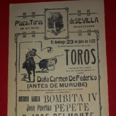 Carteles Toros: PLAZA DE TOROS DE SEVILLA 23 DE JULIO DE 1922. Lote 288007793