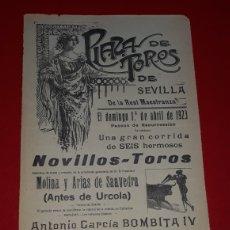 Carteles Toros: PLAZA DE TOROS DE SEVILLA 1 DE ABRIL DE 1923. Lote 288008243