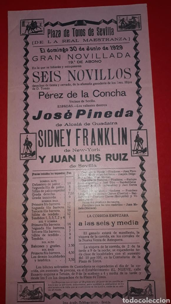 PLAZA DE TOROS DE SEVILLA 30 DE JUNIO DE 1929 (Coleccionismo - Carteles Gran Formato - Carteles Toros)