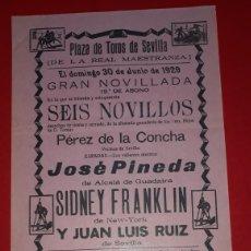 Carteles Toros: PLAZA DE TOROS DE SEVILLA 30 DE JUNIO DE 1929. Lote 288009188