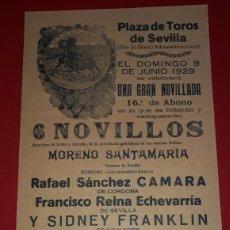 Carteles Toros: PLAZA DE TOROS DE SEVILLA 9 DE JUNIO DE 1929. Lote 288009613