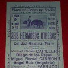 Carteles Toros: PLAZA DE TOROS DE SEVILLA 9 DE AGOSTO DE 1930. Lote 288010218