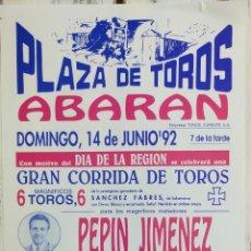 Carteles Toros: CARTEL DE TOROS ABARAN 1992. Lote 288221103
