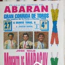 Carteles Toros: CARTEL DE TOROS ABARAN 1988. Lote 288221273