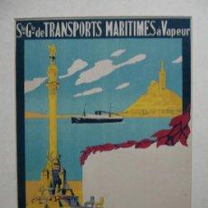 Carteles de Transportes: SOCIETÉ GENERALE DE TRANSPORTS MARITIMES Á VAPEUR. IMP. 'MINIMA' MARSEILLE. . Lote 17811614