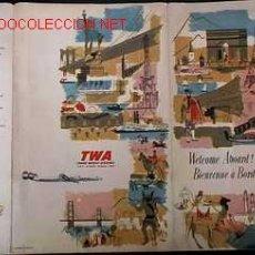 Carteles de Transportes: TWA INTERNATIONAL AIR ROUTES - U.S.A - EUROPE - AFRICA - ASIA ,ESCRITO EN INGLES, AÑO 1954. Lote 13893558