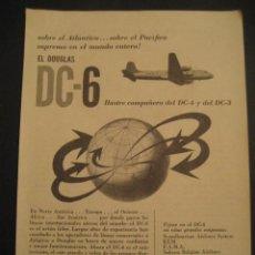 Carteles de Transportes: ANTIGUA PUBLICIDAD ANUNCIO DE AVIONES, COMPAÑIA AEREA DOUGLAS, DC-6. DE LOS AÑOS 50.. Lote 16858639