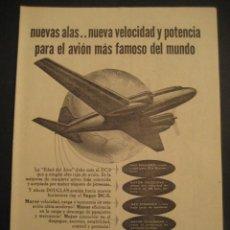 Carteles de Transportes: ANTIGUA PUBLICIDAD ANUNCIO DE AVIONES, COMPAÑIA AEREA DOUGLAS, DC-3. DE LOS AÑOS 50.. Lote 16858708
