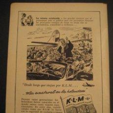 Carteles de Transportes: ANTIGUA PUBLICIDAD ANUNCIO DE AVIONES, COMPAÑIA AEREA HOLANDESA K. L. M. DE LOS AÑOS 50.. Lote 16858975