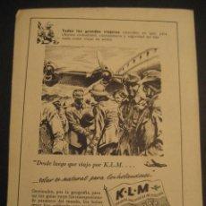 Carteles de Transportes: ANTIGUA PUBLICIDAD ANUNCIO DE AVIONES, COMPAÑIA AEREA HOLANDESA K. L. M. DE LOS AÑOS 50.. Lote 16859003