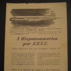 Carteles de Transportes: ANTIGUA PUBLICIDAD ANUNCIO DE AVIONES, COMPAÑIA AEREA PAN AMERICAN WORLD AIRWAYS. DE LOS AÑOS 50. Lote 16859176