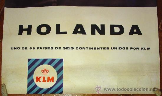 Carteles de Transportes: KLM. COMPAÑIA AÉREA HOLANDESA. CARTEL AÑOS 60. - Foto 2 - 27118642