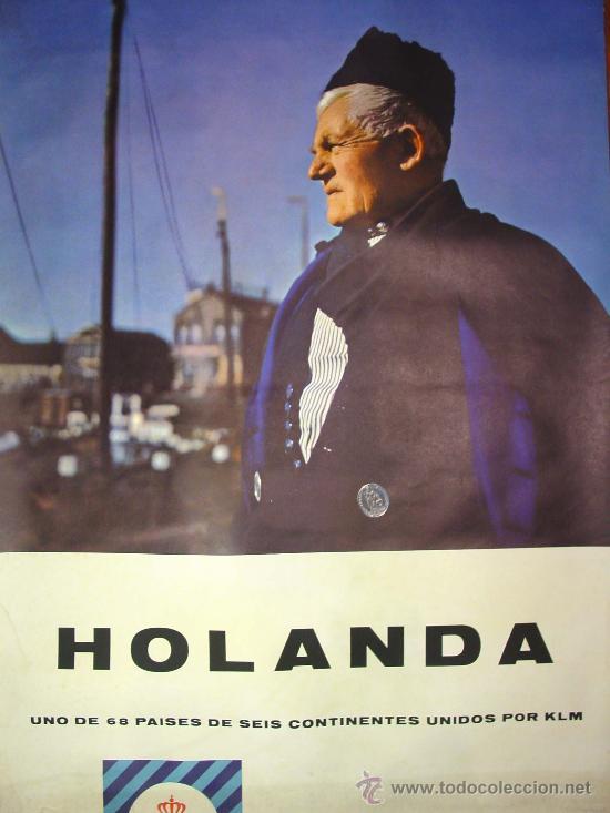 Carteles de Transportes: KLM. COMPAÑIA AÉREA HOLANDESA. CARTEL AÑOS 60. - Foto 3 - 27118642