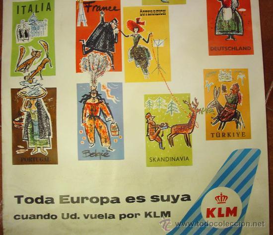 Carteles de Transportes: KLM. COMPAÑIA AÉREA HOLANDESA. CARTEL AÑOS 60. - Foto 3 - 27118643