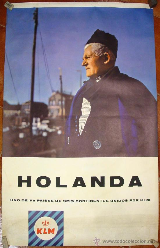 KLM. COMPAÑIA AÉREA HOLANDESA. CARTEL AÑOS 60. (Coleccionismo - Carteles Gran Formato - Carteles Transportes)
