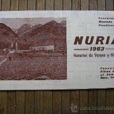 Carteles de Transportes: FERROCARRIL DE RIBES DE FRESSER A NURIA FOLLETO DE HORARIOS 1963 TRENES COMBINADOS CON LA RENFE. Lote 27901746