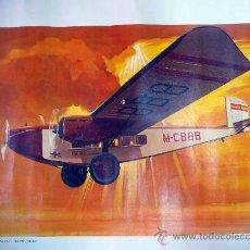 Carteles de Transportes: POSTER, LAMINA, 1º AVION DE IBERIA, M-CBBB, ROHRBACH RO-VIII, ROLAND, 1927, MANUEL CUESTA, 46 X 54 C. Lote 28399573