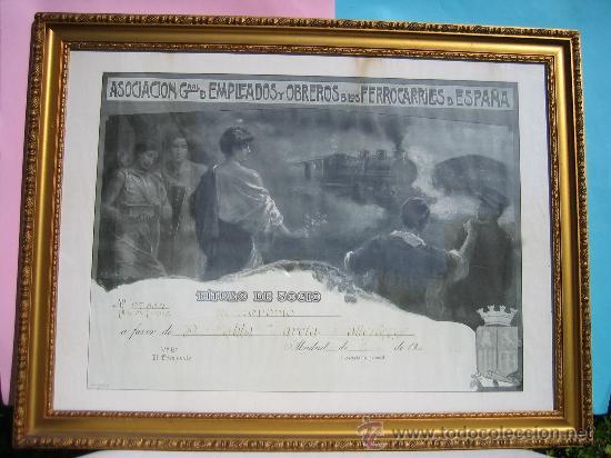 CUADRO FERROCARRIL CARTEL FERROCARRILES ESPAÑA TITULO DE SOCIO AÑO 1928 ENMARCADO CON CRISTAL (Coleccionismo - Carteles Gran Formato - Carteles Transportes)
