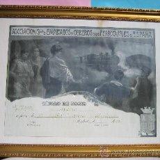 Carteles de Transportes: CUADRO FERROCARRIL CARTEL FERROCARRILES ESPAÑA TITULO DE SOCIO AÑO 1928 ENMARCADO CON CRISTAL. Lote 28635702