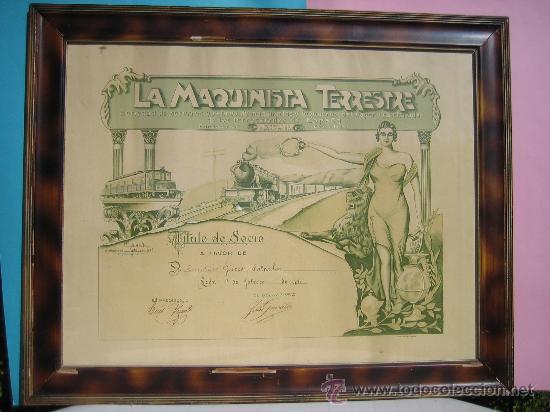 LEON - CUADRO - FERROCARRILES ESPAÑA LA MAQUINA TERRESTRE TITULO DE SOCIO 1943 ENMARCADO CON CRISTAL (Coleccionismo - Carteles Gran Formato - Carteles Transportes)