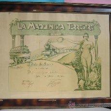 Carteles de Transportes: LEON - CUADRO - FERROCARRILES ESPAÑA LA MAQUINA TERRESTRE TITULO DE SOCIO 1943 ENMARCADO CON CRISTAL. Lote 28635786