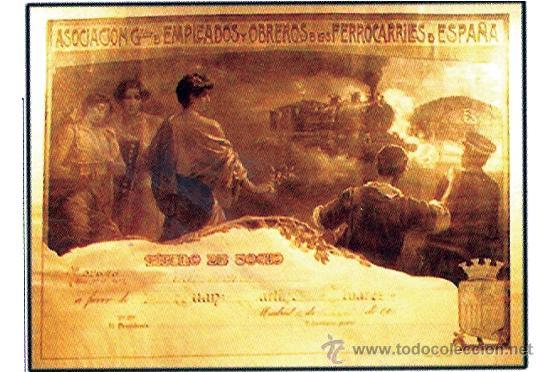 1930.TITULO DE SOCIO - ASOCIACION DE EMPLEADOS Y OBREROS DE LOS FERROCARRILES DE ESPAÑA. (Coleccionismo - Carteles Gran Formato - Carteles Transportes)