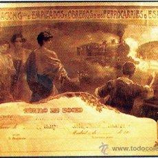 Carteles de Transportes: 1930.TITULO DE SOCIO - ASOCIACION DE EMPLEADOS Y OBREROS DE LOS FERROCARRILES DE ESPAÑA.. Lote 30248863