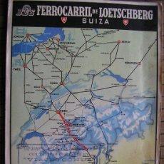 Carteles de Transportes: BLS FERROCARRIL DE LOETSSCHBERG SUIZA MAPA DE LAS LINEAS. Lote 32058270