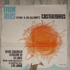 Affissi di Trasporti: ANTIGUO PÓSTER DE PAPEL. AÑO 1965. FERROCARRILES CATALANES. (TRENBUS PONE A SU ALCANCE CASTELLDEFELS. Lote 33799282