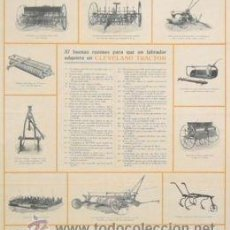 Carteles de Transportes: CARTEL CLAVELAND TRACTOR. C. 1910. 42X47CM. Lote 35799584