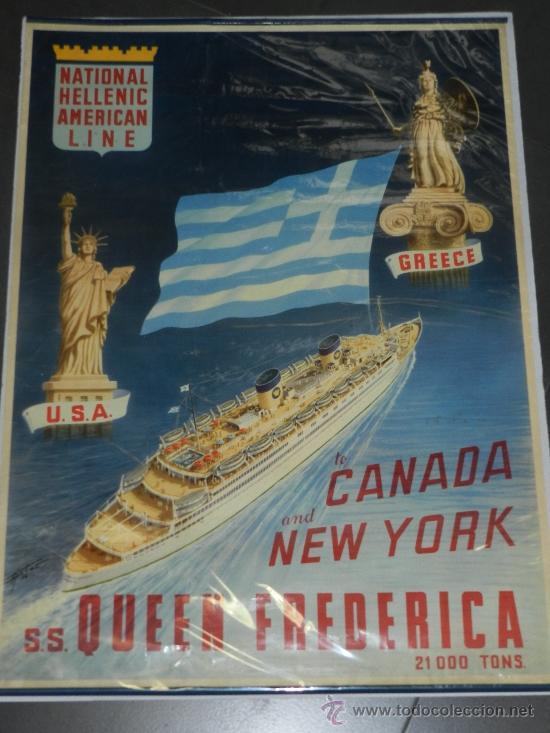 (M) CARTEL DE NAVIERAS - NATIONAL HELLENIC AMERICAN LINE , GREECE, TO CANADA AND NEW TORK (Coleccionismo - Carteles Gran Formato - Carteles Transportes)