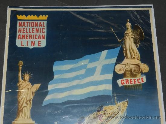 Carteles de Transportes: (M) CARTEL DE NAVIERAS - NATIONAL HELLENIC AMERICAN LINE , GREECE, TO CANADA AND NEW TORK - Foto 2 - 37653388