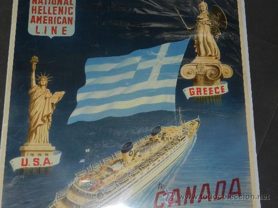 Carteles de Transportes: (M) CARTEL DE NAVIERAS - NATIONAL HELLENIC AMERICAN LINE , GREECE, TO CANADA AND NEW TORK - Foto 3 - 37653388