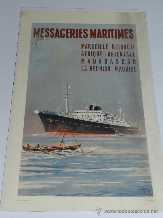 (M) CARTEL NAVIERAS - MESSAGERIES MARITIMES, MARSEILLE DJIBOUTI AFRIQUE , AÑOS 40, EDIT PARIS (Coleccionismo - Carteles Gran Formato - Carteles Transportes)