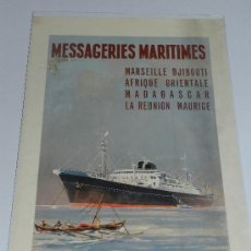 Carteles de Transportes: (M) CARTEL NAVIERAS - MESSAGERIES MARITIMES, MARSEILLE DJIBOUTI AFRIQUE , AÑOS 40, EDIT PARIS. Lote 37982512
