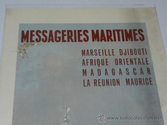 Carteles de Transportes: (M) CARTEL NAVIERAS - MESSAGERIES MARITIMES, MARSEILLE DJIBOUTI AFRIQUE , AÑOS 40, EDIT PARIS - Foto 2 - 37982512