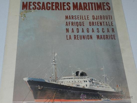 Carteles de Transportes: (M) CARTEL NAVIERAS - MESSAGERIES MARITIMES, MARSEILLE DJIBOUTI AFRIQUE , AÑOS 40, EDIT PARIS - Foto 4 - 37982512
