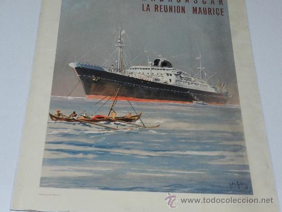 Carteles de Transportes: (M) CARTEL NAVIERAS - MESSAGERIES MARITIMES, MARSEILLE DJIBOUTI AFRIQUE , AÑOS 40, EDIT PARIS - Foto 5 - 37982512
