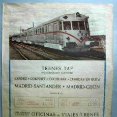 Carteles de Transportes: CARTEL RENFE TRENES TAF MADRID - SANTANDER MADRID - GIJÓN OFICINAS BILLETES 1986. Lote 39610680