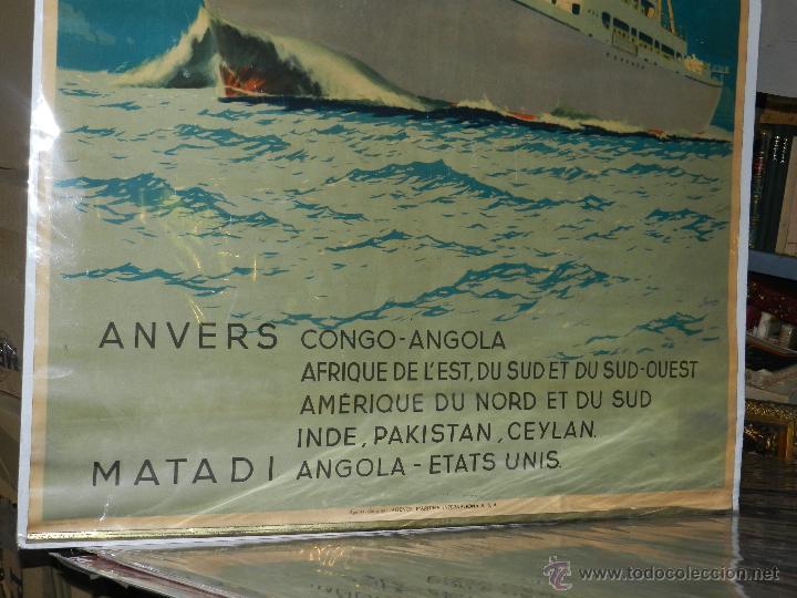 Carteles de Transportes: CARTEL NAVIERA LUKUGA COMPAGNIE MARITIME BELGE, ANVERS CONGO - ANGOLA , ORIGINAL AÑOS 40 - Foto 4 - 47719117