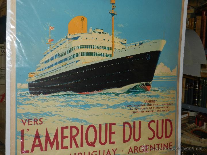 Carteles de Transportes: CARTEL NAVIERA ANDES ROYAL MAIL LINES LAMERIQUE DU SUD, BRESIL, URUGUAY,ARGENTINE, ORIGINAL AÑOS 40 - Foto 3 - 47719186