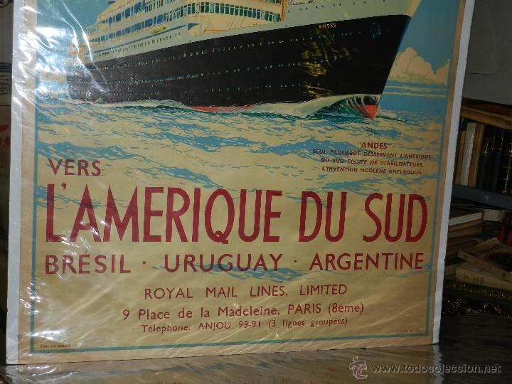 Carteles de Transportes: CARTEL NAVIERA ANDES ROYAL MAIL LINES LAMERIQUE DU SUD, BRESIL, URUGUAY,ARGENTINE, ORIGINAL AÑOS 40 - Foto 4 - 47719186