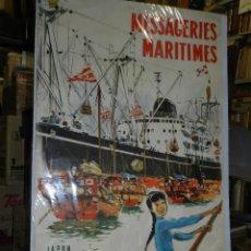Carteles de Transportes: CARTEL NAVIERA MESSAGERIES MARITIMES JAPON, AUSTRALIE, AFRIQUE DU SUD, ILUSTRADO A BRENET, AÑOS 40 . Lote 47738964